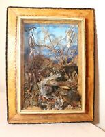 vintage handmade original shadowbox diorama Folk Art river landscape sculpture