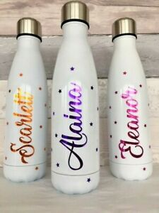 Personalised White Vacuum Water Bottle Drinks Hydro Sports Flask Chilly Teacher