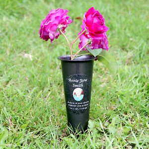 Personalised Grave Vase Flower Holder, Your Photo Memorial, Spiked, In Memory