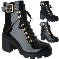 Womens Platform Chunky Block Heel Zip Goth Punk Ladies Lace Up Ankle Boots Size