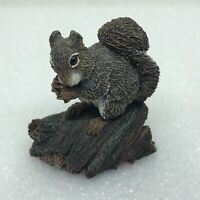 Vintage 1979 Neal Deaton Squirrel Figurine Eating Nut on a Log