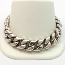 Sterling Silver Mexico 925 Heavy Curb Link Mens Bracelet Safety Pin Push Clasp