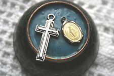 Lot of 2 Religious Pendants Cross Crucifix & Mother Mary Vintage