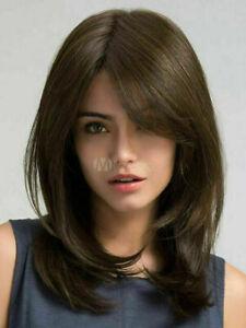 100% Human Hair New Fashion Elegant Women Medium Dark Brown Straight Full Wigs