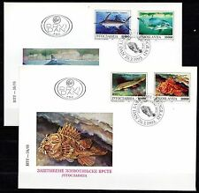 Yugoslavia - 1993 Protected animals / Fish & dolphin- Mi. 2589-92 on clean FDC's