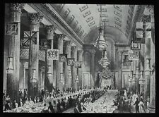 Glass Magic Lantern Slide EGYPTIAN HALL IN MANSION HOUSE LONDON C1890 DRAWING