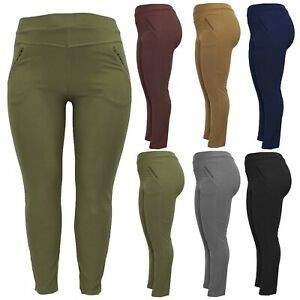 NEW LADIES WOMENS HIGH RISE PLUS SIZE SKINNY FIT STRETCH TROUSERS JEGGINGS