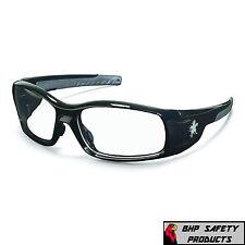 SAFETY GLASSES MCR CREWS SWAGGER SR110 BLACK FRAME/CLEAR LENS WORK SPORT EYEWEAR