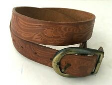 """34/""""  Silver and Brown Men/'s Leather Belt Canyon Outback Western Fancy 42/"""""""