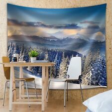 Wall26 - Snowed in Pine Trees Up on the Mountains - Fabric Tapestry - 51x60