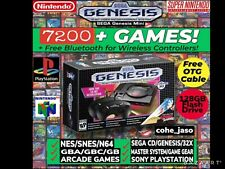 Nib Sega Genesis Mini With 7250+ Games And Free Bluetooth Adapter Fast Shipping