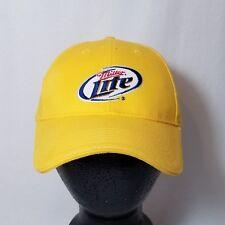 Miller Lite Yellow Baseball Cap Hat - Adjustable Fit - Excellent Condition