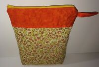 "Quilted Zipper Bag Orange & Yellow Print Fabric 12""x 9"" Side Tab Handmade Gift"