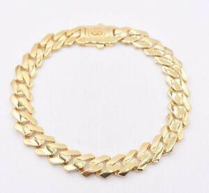 10mm Edge Miami Cuban Royal Link Bracelet Plain Box Clasp Real 10K Yellow Gold