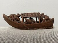 Vintage Antique Chinese Carved Wood Fishing Boat Figurine w/ Figures & Baskets
