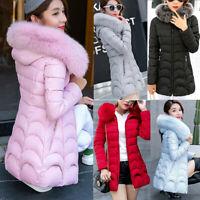 Women's Hooded Outwear Warm Long Down Coat Fur Collar Parka Slim Jacket Overcoat