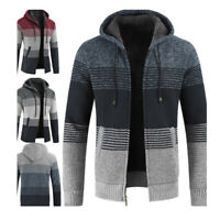 Mens Knitted Hoodies Zip Cardigan Thick Jumper Jacket Wool Warm Winter Sweater