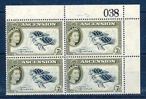 ASCENSION 1956 DEFINITIVES SG65 7d BLOCK OF 4 WITH SHEET NUMBER MNH