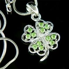 Irish Ireland w Swarovski Crystal ~4 Leaf Clover Lucky Shamrock Pendant Necklace