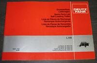 Ersatzteilliste Deutz Fahr Ladewagen L 510 Ersatzteilkatalog Spare Parts 03/1985