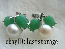 WOW! freshwater pearl white green jade nature earring wholesale beads gift