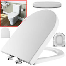 New Luxury Toilet Seat Soft Close D Shape Top Quick Release Hinge Easy Clean UK