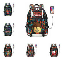 Roblox Backpack Casual Travel SchoolBag Waterproof Laptap Bag With USB Charger