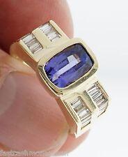 14K YELLOW GOLD 2 ROW DIAMOND BAUGETTE & 10 X 7.5 TANZANITE PURPLE RING SIZE 9