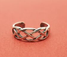 Weave Toering 5mm wide adjustable celtic Sterling Silver Toe Ring Solid 925 Open