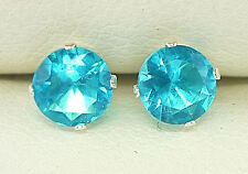Topaz Silver Stud Earrings - Round 5mm Created Blue Stone Sku821