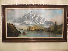 "Huge Beauty!mid century Listed JOHN GRECO Landscape scene O/C 57""X33"" river,snow"