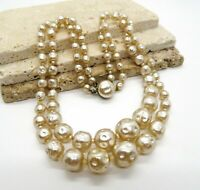 Vintage Japan Layered Cream Baroque Faux Pearl Bead Choker Necklace V6