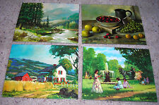 Fountain-Fruit-Mountain Stream-Farm Scene - Set of 4 Canvas-Style Prints