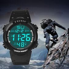 Fashion Men's LCD Digital Army Watch Date Rubber Sport Wrist Watches Waterproof