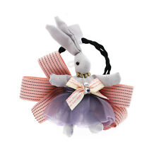 Luxury Baby Girl Grey Pink Rabbit Charm Elastic Hair Band Wrap Accessories HA258