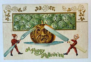 Vintage Halloween Postcard 1908 Anthropormorhic Scared Jack-O-Lantern Gottschalk