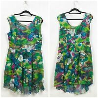 Danny & Nicole 16 Womens Green Watercolor Floral Print Pleated A-line Dress