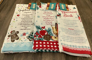 Pioneer Woman Holiday Ed Kitchen Towels 2 pk Lot of 3 Gingerbread Cider Peppermi