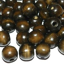 W651L2 Dark Brown 16mm Round Wood Spacer Beads 1-oz Package (18 Beads)
