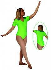 NWT Pumpers Shiny Neon Green Short Sleeve Leotard     Adult S