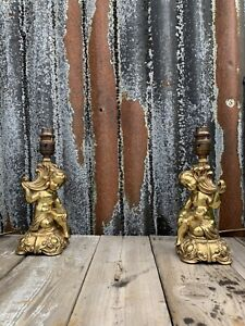 Antique Vintage Pair Brass Cherubs Table Lamps
