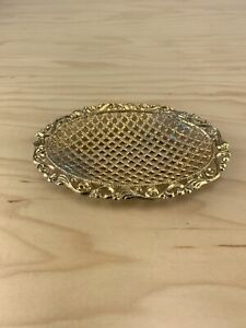 Vintage Gold Tone Oval  Soap Dish Trinket Tray