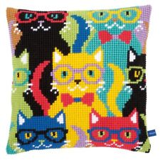 Funny Cats Chunky Cross Stitch Cushion Front Kit 40x40cm Vervaco