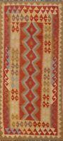 Geometric Kilim Reversible Oriental Runner Rug Wool Hand-Woven Rust Carpet 3x7