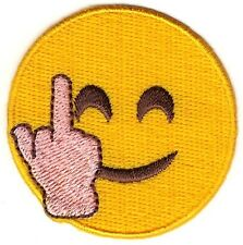 "2"" Smiley Face Middle Finger Emoji Sew On Patch"