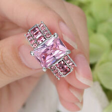 Men's Women's/Lady Pink Sapphire 10Kt  White gold Filled Wedding Ring Size 6