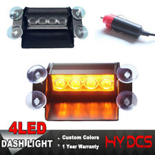 4 LED Car Dash Board Emergency Warning Visor Strobe Flashing Light Amber Yellow