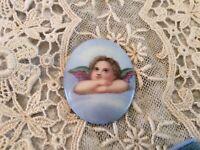 Antique Vtg Cherub Porcelain Plaque Medallion For Jewelry or Frame Putti