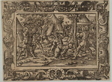 JURA Orig Virgil SOLIS Ornament Rollwerk Holzschnitt um 1560 Steinigung Bibel