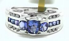 GENUINE 1.72 Cts TANZANITE & DIAMONDS RING 10K WHITE GOLD ** FREE APPRAISAL **